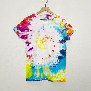 White DIY Tie Dye Swirl Tee T-Shirt